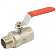 Red Steel Long Handle Ball Valve - Male x Female BSPP