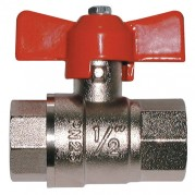 Red T Handle Ball Valve - Female x Female BSPP