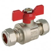 Centreglow Compression Ball Valves, Brass, Butterfly Handles