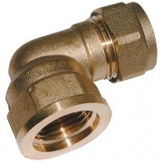 BSPP Female x Metric Brass Compression Elbow