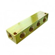BSPP Female Single Sided Manifold Block - Brass